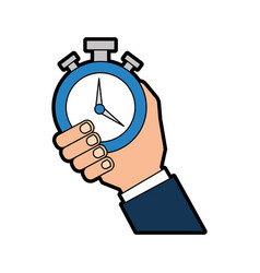 Hand human with chronometer watch isolated icon vector