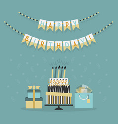 happy birthday decor banner with cake and presents vector image