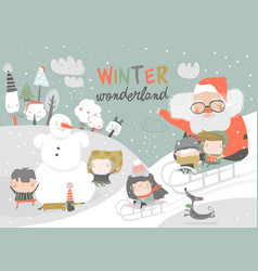 happy cute kids playing winter games with santa vector image