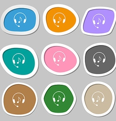 headsets icon symbols Multicolored paper stickers vector image
