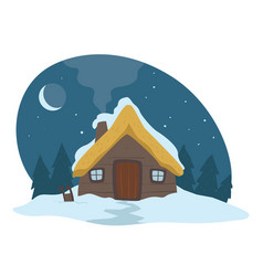 House covered with snow evening winter landscape vector