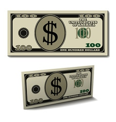 Hundred dollar paper bill banknote vector
