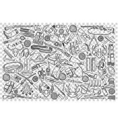 hunting shop doodle set vector image