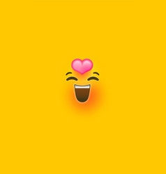 in love yellow 3d smiley face phone background vector image
