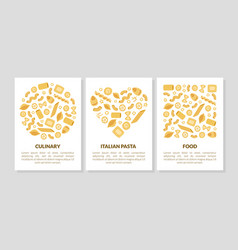 italian pasta culinary food card templates set vector image