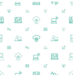 Laptop icons pattern seamless white background vector
