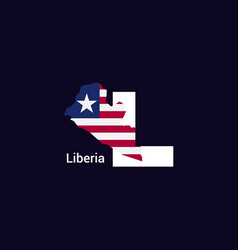 liberia initial letter country with map and flag vector image