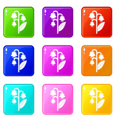 lily valley icons set 9 color collection vector image
