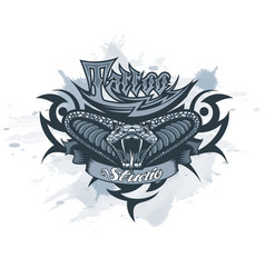 logo tattoo studio with a cobra in center vector image
