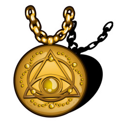 magic round golden pendant with the image of the vector image