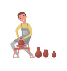 Man shaping ceramic jug on rotating pottery wheel vector