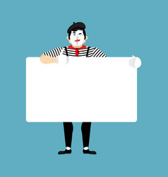 Mime holding banner blank pantomime and white vector