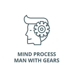 mind processman with gears line icon vector image