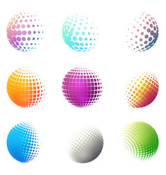 minimalistic shapes halftone bright color spheres vector image
