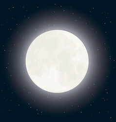Moon and stars on dark sky vector