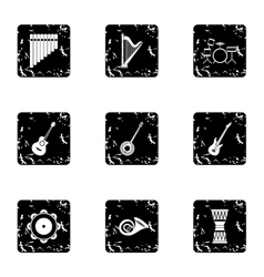 Musical device icons set grunge style vector