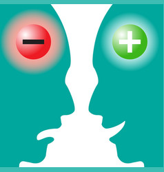negative brain vs positive brain vector image