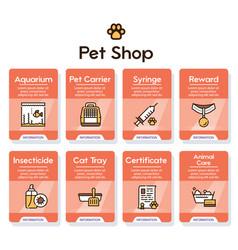 pet service color linear icons set vector image