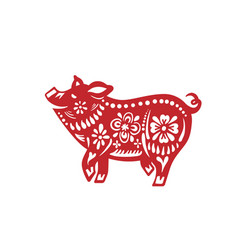 pig for happy chinese new year celebration vector image