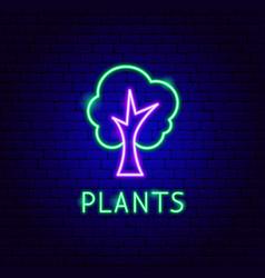 Plants neon label vector