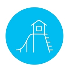 Playhouse with slide line icon vector image