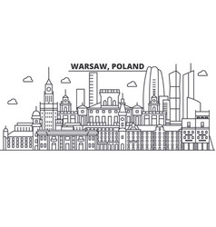 Poland warsaw architecture line skyline vector
