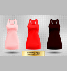 realistic detailed 3d women dress mock up pink vector image