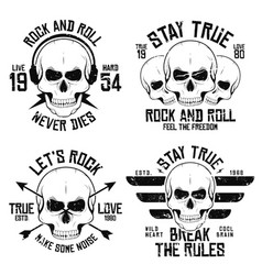 rock and roll t-shirt graphic design with skulls vector image
