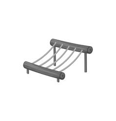 Rope bridge on a playground icon vector