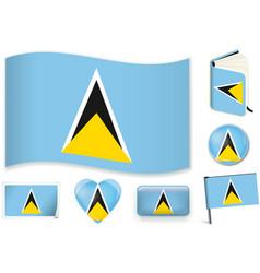saint lucia flag wave book circle pin button vector image