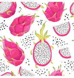 seamless dragon fruit pattern pitaya background vector image
