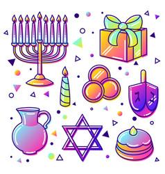 set of happy hanukkah celebration objects and vector image