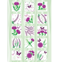 Set of the decorative Scottish flowers thistle and vector