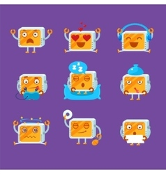 Small Robot Emoji Set vector