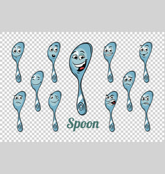 Spoon emotions characters collection set vector
