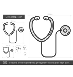 Stethoscope line icon vector
