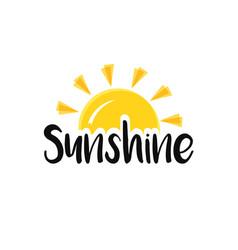 Sun end word sunshine concept sunset or sunrise vector
