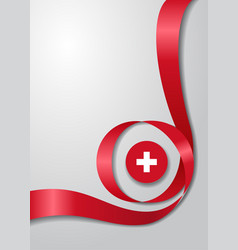Swiss flag wavy background vector