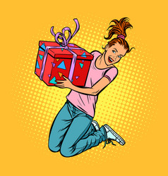 teen girl with a gift jump of joy vector image