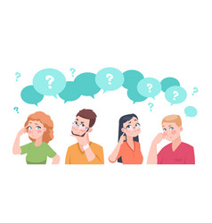 thinking people group anxiety characters flat vector image