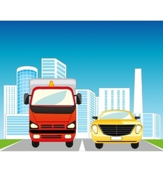 Town Road and cars vector image
