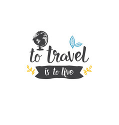 traveling quote hand drawn icon world tour vector image
