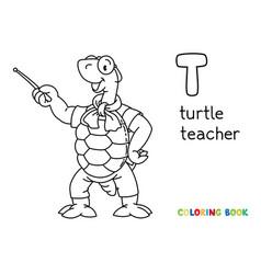Turtle teacher abc coloring book alphabet t vector