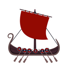 viking ship on a white background vector image
