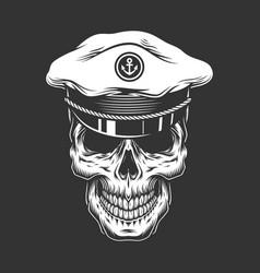 Vintage sea captain skull vector