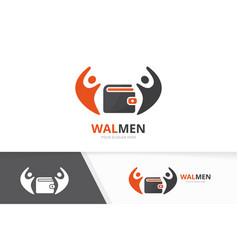 Wallet and people logo combination purse vector