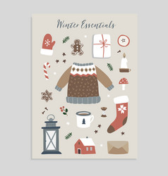 winter essentials christmas greeting card set of vector image