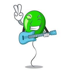 With guitar green ballon with cartoon ribbons vector