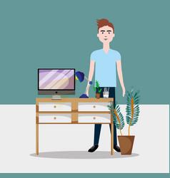 worker inside office vector image
