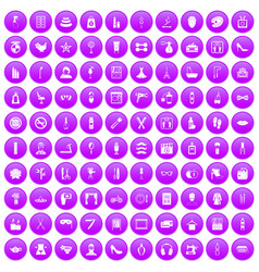 100 beauty and makeup icons set purple vector image vector image